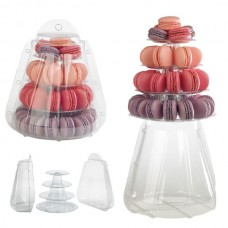 Clear Macaroon Tower: 4 Tiers with Clear Case