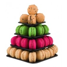 Square, Black Macaroon Tower: 4 Tiers