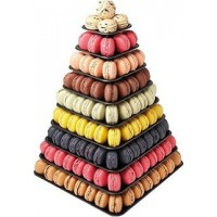 Square, Black Macaroon Tower: 9 Tiers