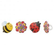 Ladybug, Bee, Flower Rings