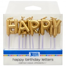 Gold Happy Birthday  Letter Candle
