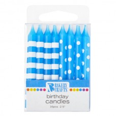 Blue Stipes and Dots Candle