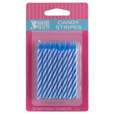Blue Candy Spiral Stripe Candle