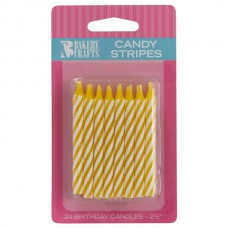 Yellow Candy Spiral Stripe Candle