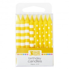 Yellow Stripes and Dots Candle