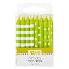 Lime Green Stripes and Dots Candle