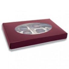 1lb Burgundy Box with Oval Window