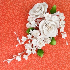 Large Open Rose Sprays - White