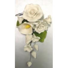 Medium Tea Rose & Calla Lily Sprays - White