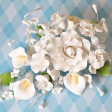 Large Tea Rose & Calla Lily Sprays - White